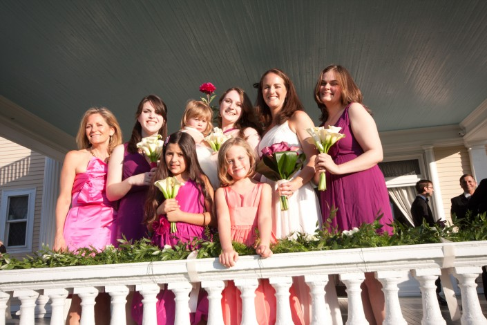 wedding group portrait on the front porch at the endicott estate in dedham masachusetts