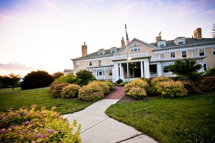 Exteriorsunset view of the endicott estate wedding venue outside boston ma