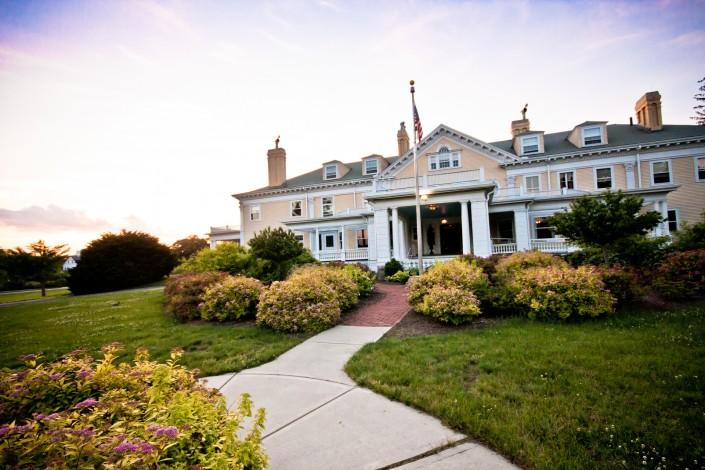 Exteriorsunset view of the endicott estate wedding venue outside boston ma