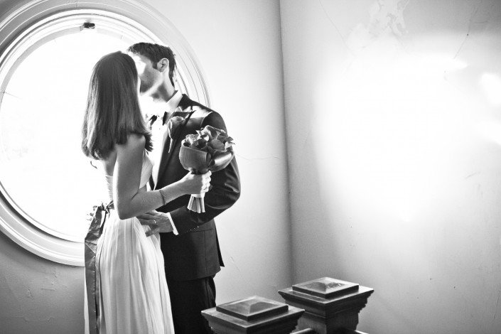 wedding couple portrait in black and white