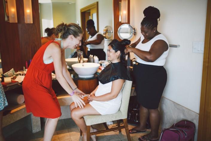 Atlantis wedding makeup artist in hotel room