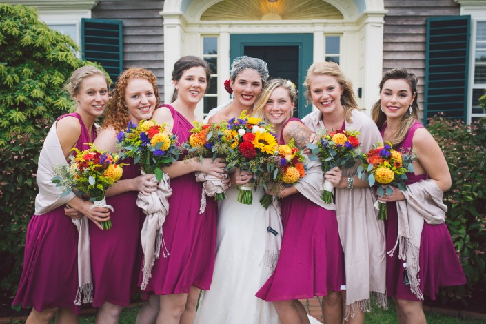 bride and bridesmaids at a cape cod wedding