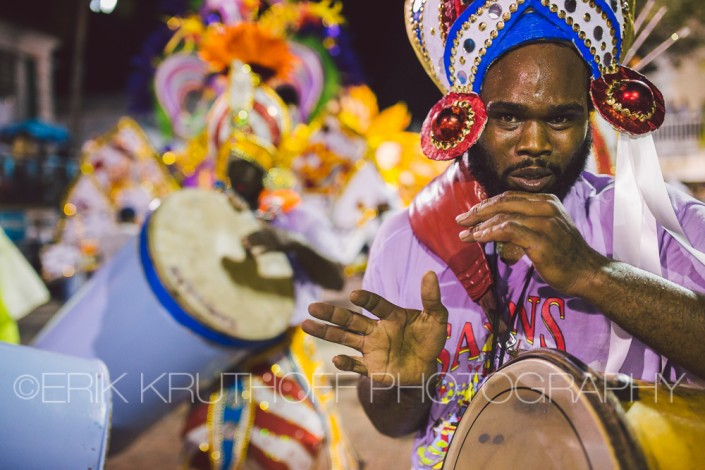 A costumed drummer performing in the bahamas junkanoo parade new years 2016