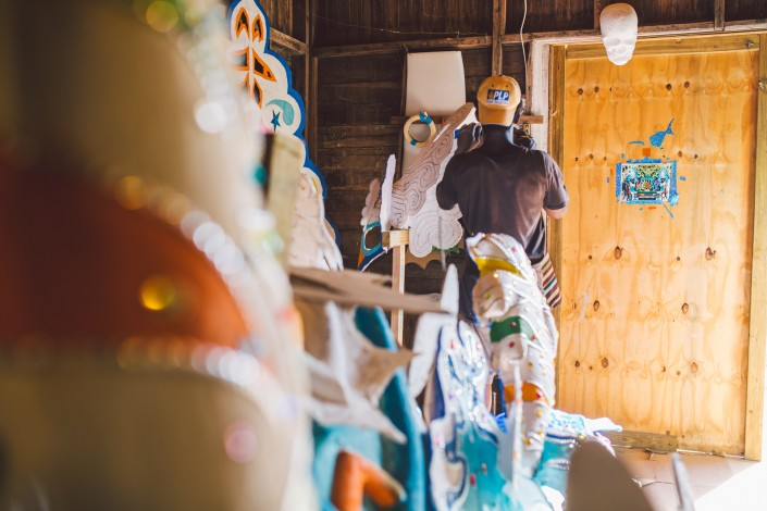 costume making in the junkanoo shack in eleuthera bahamas