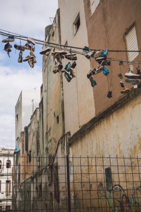 old shoes on a telephone wire in Havana