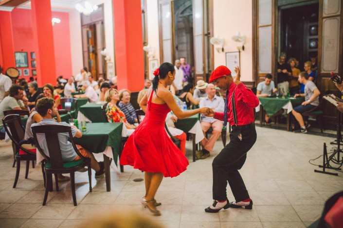 cuban salsa dancers in a club in havana