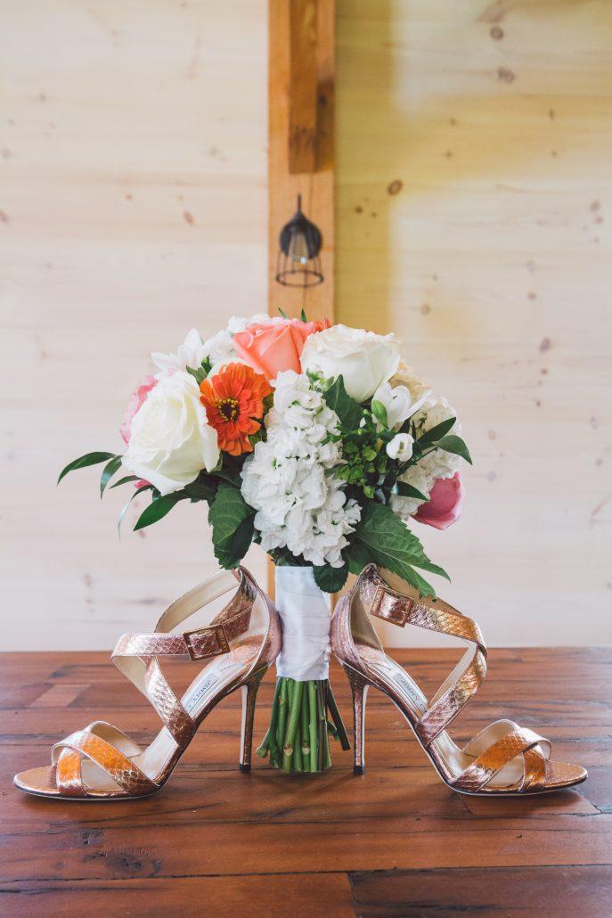 brides wedding bouquet and shoes at hill farm inn