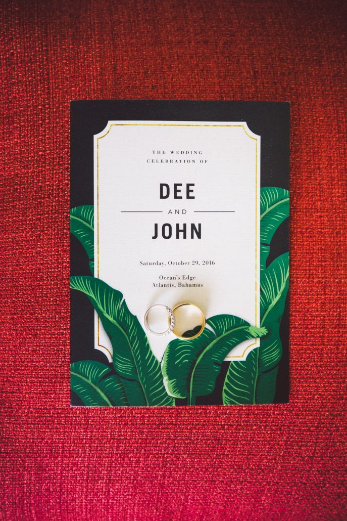 tropical wedding invitation with rings photo