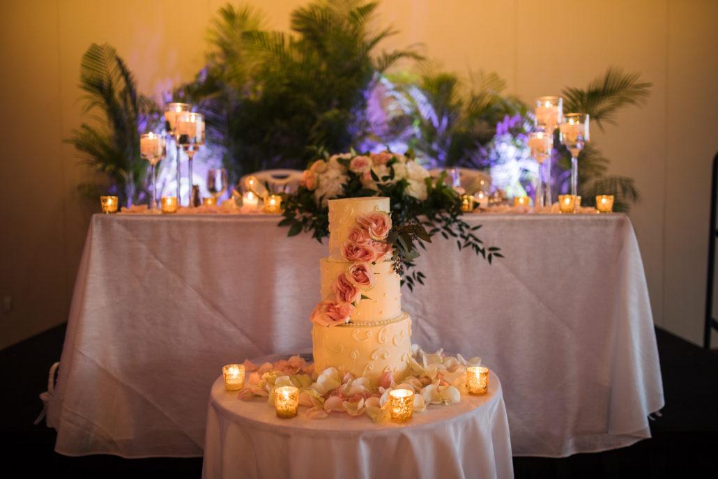 wedding cake at baha mar wedding reception