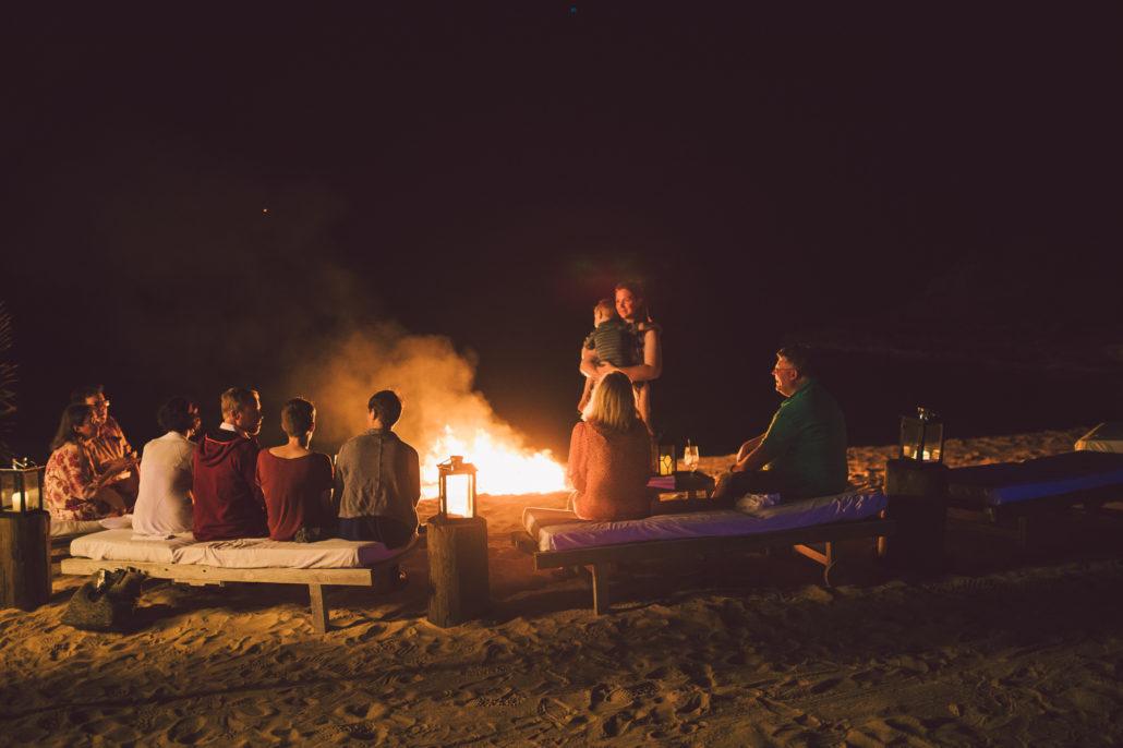 the cove eleuthera wedding beach bonfire