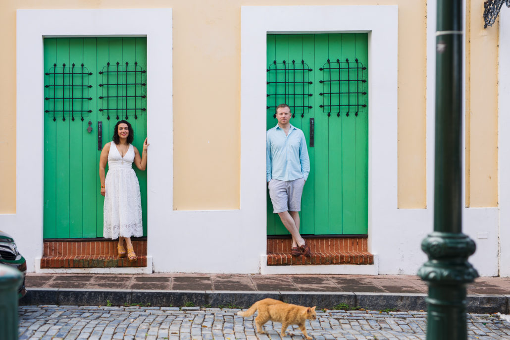 a couple posing in an Old San Juan street scene in Puerto Rico