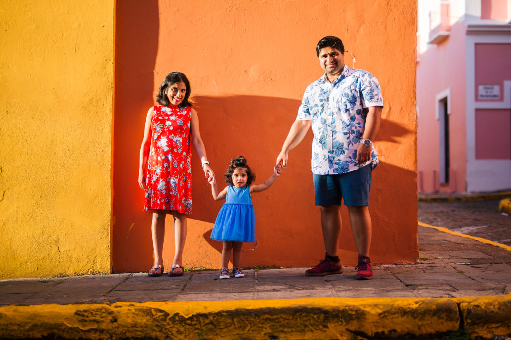 family holdding hands in old san juan puerto rico