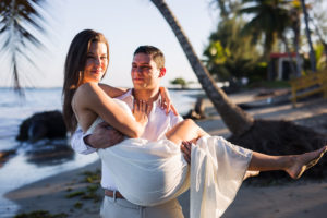 bride and groom eloping on the beach in Dorado Puerto Rico